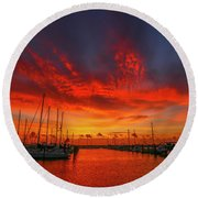 Marina Sunrise - Ft. Pierce Round Beach Towel