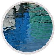 Marina Water Abstract 1 Round Beach Towel by Fraida Gutovich