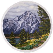 Round Beach Towel featuring the painting Marina's Edge, Jenny Lake, Grand Tetons by Erin Fickert-Rowland