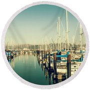 Marinaside Sausalito California Round Beach Towel