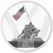 Round Beach Towel featuring the drawing Marine Corps War Memorial - Iwo Jima by Betsy Hackett