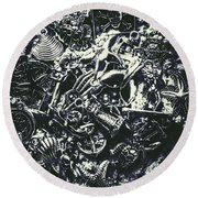 Marine Elemental Abstraction Round Beach Towel
