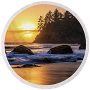 Marine Layer Sunset At Trinidad, California Round Beach Towel