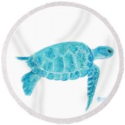 Marine Turtle Painting On White Round Beach Towel