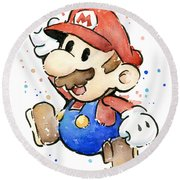 Mario Watercolor Fan Art Round Beach Towel