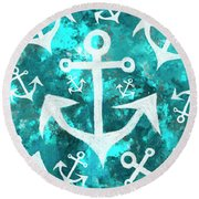 Maritime Anchor Art Round Beach Towel