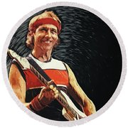 Round Beach Towel featuring the painting Mark Knopfler by Taylan Apukovska