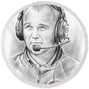 Mark Richt  Round Beach Towel by Greg Joens
