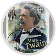 Round Beach Towel featuring the mixed media Mark Twain by John Dyess