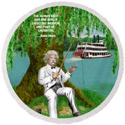 Mark Twain On The Mississippi Round Beach Towel