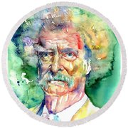 Mark Twain Watercolor Round Beach Towel