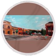 Round Beach Towel featuring the painting Market Day by Linda Feinberg