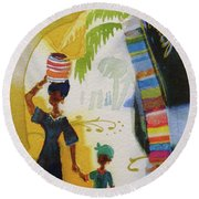 Market Day Round Beach Towel by Marilyn Jacobson