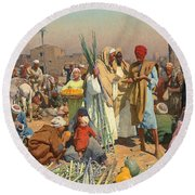Market In Lower Egypt  Round Beach Towel by Leopold Karl Muller