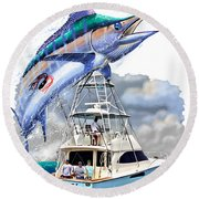 Marlin Commission  Round Beach Towel