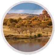 Marmashen Monastery Reflected On Lake At Autumn, Armenia Round Beach Towel by Gurgen Bakhshetsyan