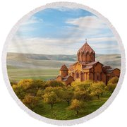 Marmashen Monastery Surrounded By Yellow Trees At Autumn, Armeni Round Beach Towel