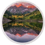 Maroon Bells At Sunrise Round Beach Towel