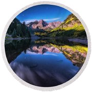 Maroon Bells By Moonlight Round Beach Towel
