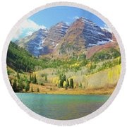 Round Beach Towel featuring the photograph The Maroon Bells Reimagined 2 by Eric Glaser