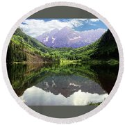 Round Beach Towel featuring the photograph Maroon Bells  by Jerry Battle