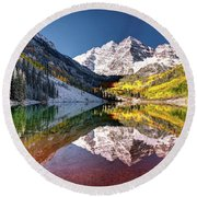 Olena Art Sunrise At Maroon Bells Lake Autumn Aspen Trees In The Rocky Mountains Near Aspen Colorado Round Beach Towel