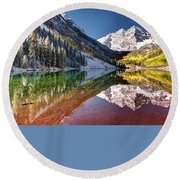 Maroon Bells At Dawn Round Beach Towel