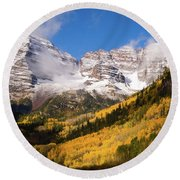 Round Beach Towel featuring the photograph Maroon Bells by Steve Stuller