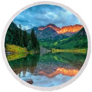 Maroon Bells Sunrise Round Beach Towel