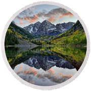 Maroon Bells Sunset Round Beach Towel