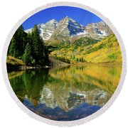 Maroon Lake Autum - 1 Round Beach Towel