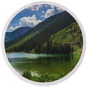 Maroon Lake Panorama Round Beach Towel