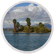 Marooned Palms Round Beach Towel