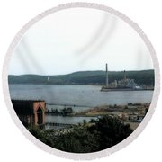 Marquette Michigan Round Beach Towel by Michelle Calkins