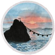 Married Couple Rocks At Sunrise Round Beach Towel