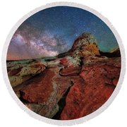 Mars Or White Pocket Milky Way Round Beach Towel