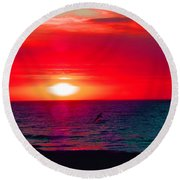 Mars Sunset Round Beach Towel
