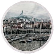 Round Beach Towel featuring the photograph Marseilles France Harbor by Alan Toepfer