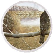 Marsh Hawk Round Beach Towel