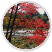 Marsh In Autumn Round Beach Towel