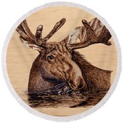Marsh Moose Round Beach Towel by Ron Haist