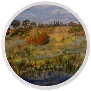 Marsh Trail At Loxahatchee Round Beach Towel by Donna Walsh