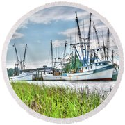 Marsh View Shrimp Boats Round Beach Towel
