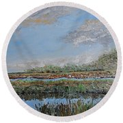 Marsh View Round Beach Towel