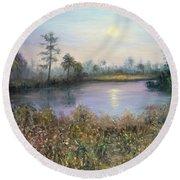 Marsh Wetland Moon Landscape Painting Round Beach Towel