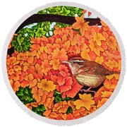 Round Beach Towel featuring the painting Marsh Wren by Michael Frank