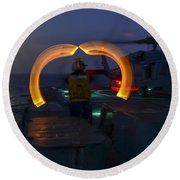 Marshaling The Heli Us Navy Round Beach Towel