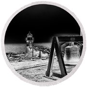 Marshall Point Bell And Light Round Beach Towel by Daniel Hebard