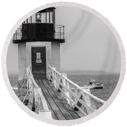 Marshall Point Light And Lobster Boat Round Beach Towel by Daniel Hebard