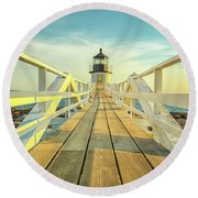 Marshall Point Light Round Beach Towel by Brian Caldwell